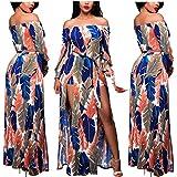 Romper Split Maxi Dress High Elasticity Floral Print Short Jumpsuit Overlay Skirt for Summmer Party Beach (2XL, Orange Blue)