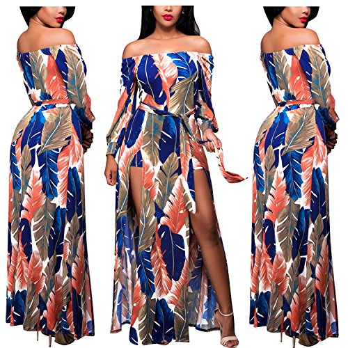 Off Shoulder Floral Party Split Maxi Dress 2017 L (Hawaiian Party Dress)