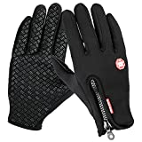 CBoner Cycling Gloves, Full Finger Touch Screen Mountain Biking Gloves, Anti-Skid Thick Palm Pad Cold Weather Bike Gloves for Men and Women