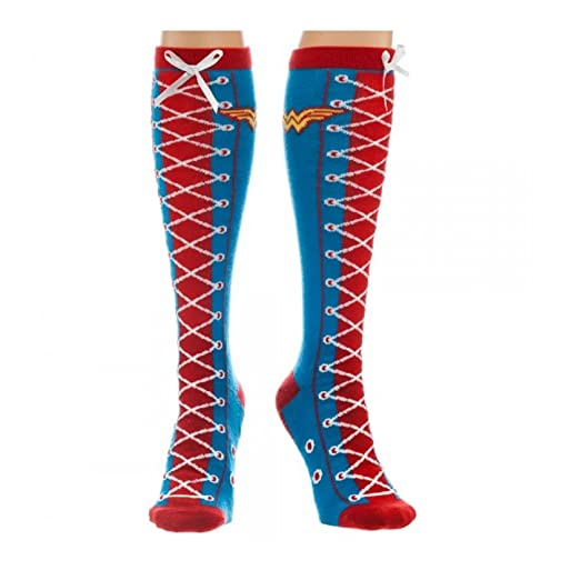 26ed931c8 Image Unavailable. Image not available for. Color  Wonder Woman Faux Lace  Up Knee High Socks ...