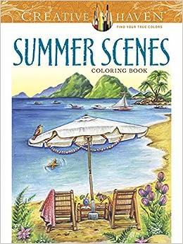Amazon.com: Creative Haven Summer Scenes Coloring Book (Adult ...