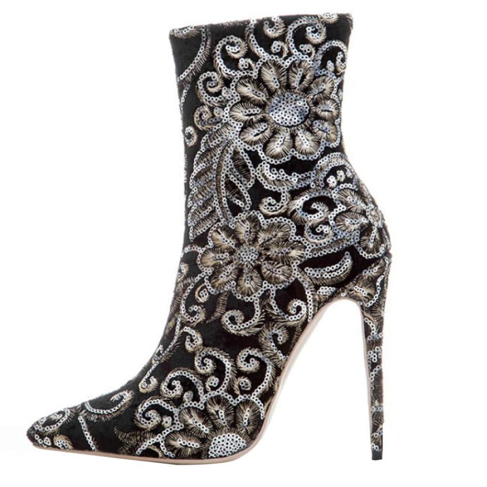 MYXUA Weibliche Mode Stickerei Wies Seite Stiefel Reißverschluss Stiefel Seite 00d5bd