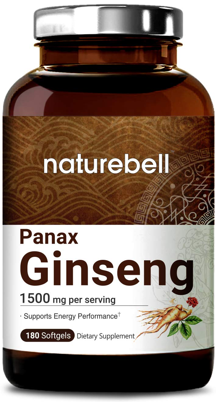 Organic Korean Red Panax Ginseng Extract 1500mg, 180 Liquid Softgels, Strongly Support Energy Performance, Immune System and Energy, Non-GMO and Made in USA