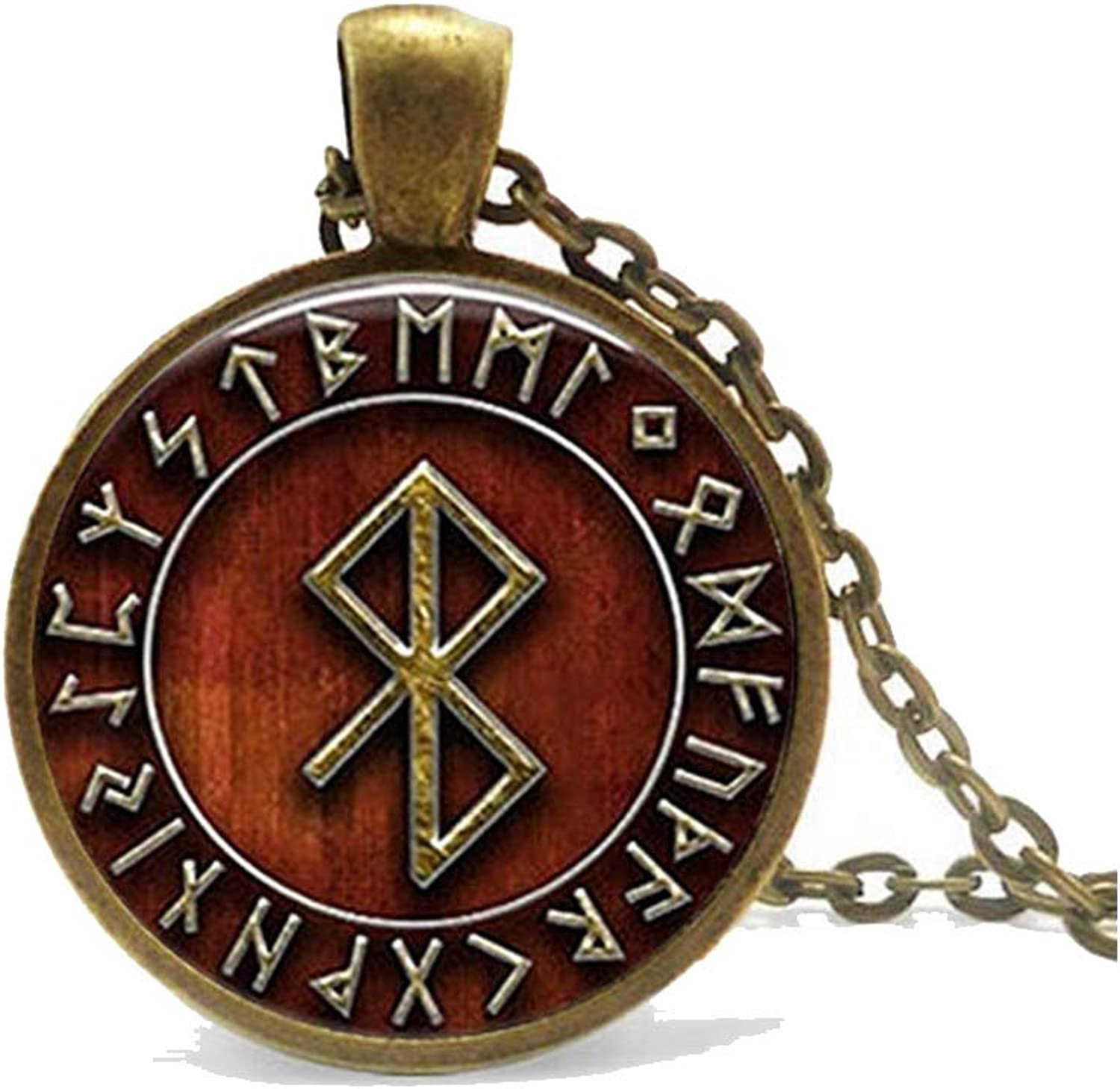 Zoe-clothes-store Vintage Viking Peace Rune in Runic Circle Pendant Viking Amulet Symbolism Steampunk Style Jewelry Glass Cabochon Necklace
