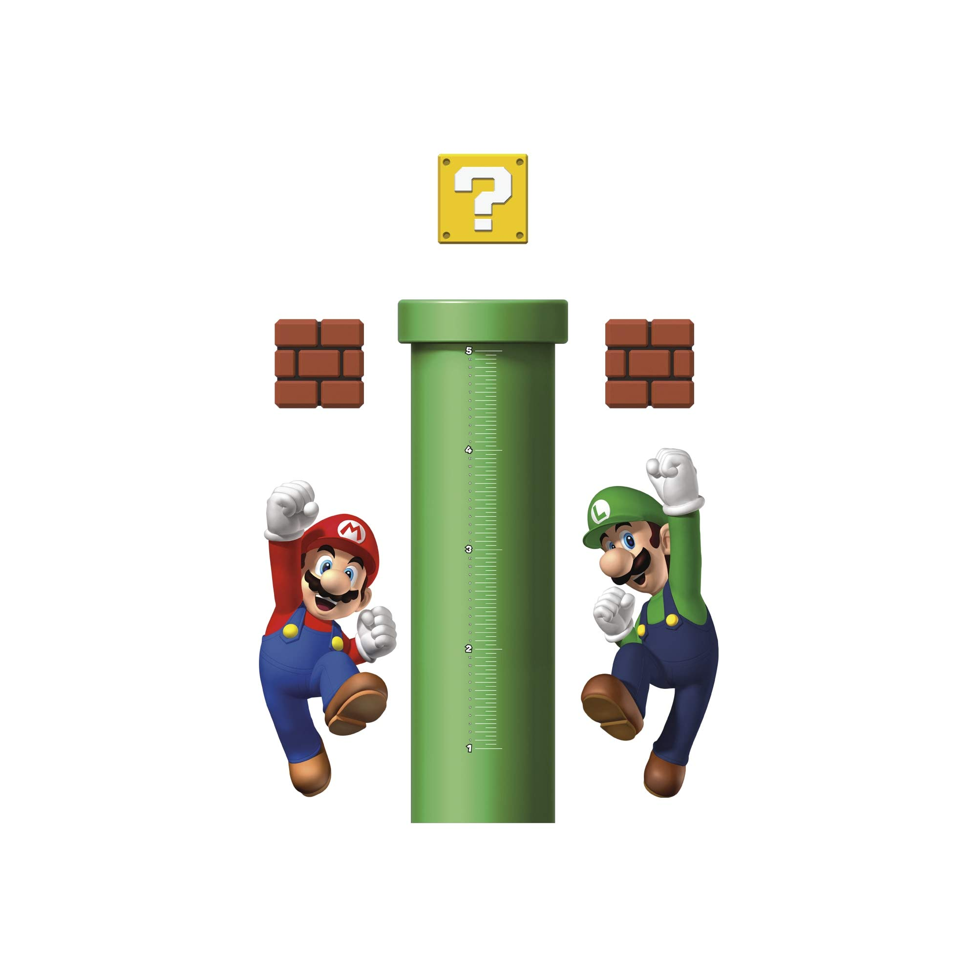FATHEAD Super Mario: Growth Chart - Large Officially Licensed Nintendo Removable Wall Decals Multicolor