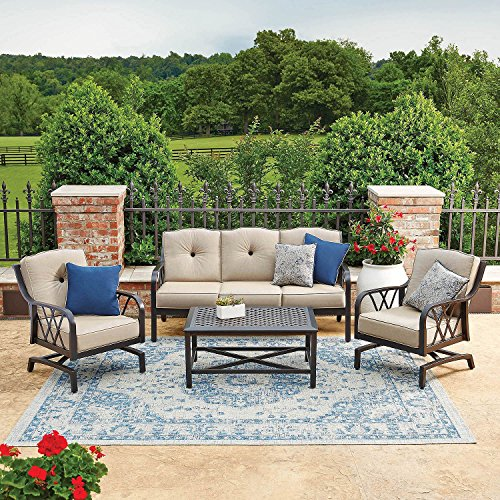 Sunbrella Fabrics on Rust-proof Cast Aluminum Frames 4pc Outdoor Patio Deep Seating Set (Sunbrella Patio Set)