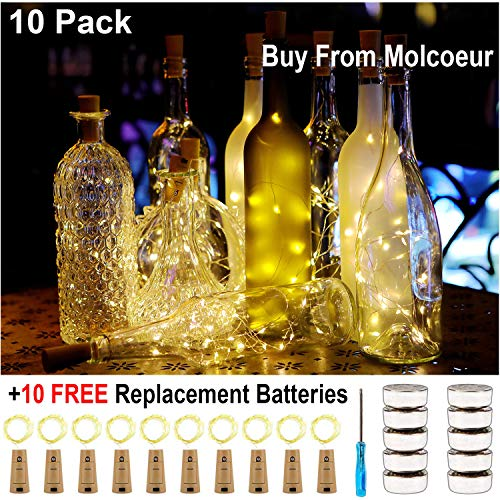KZOBYD 10 Pack Wine Bottle Lights 20 LED Tiny Craft Bottle Lights Battery Operated Cork Lights for Wine Bottles Christmas Wedding Party Indoor Decor with 10 Spare Battery (Warm White) ()