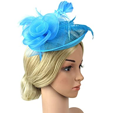 4dc2ba80c8f82 wocharm Womens Sinamay Fascinator Hat Wedding Fascinator Tea Party Hats Flower  Feather Veils Fascinator Hat (Light Blue)  Amazon.co.uk  Clothing
