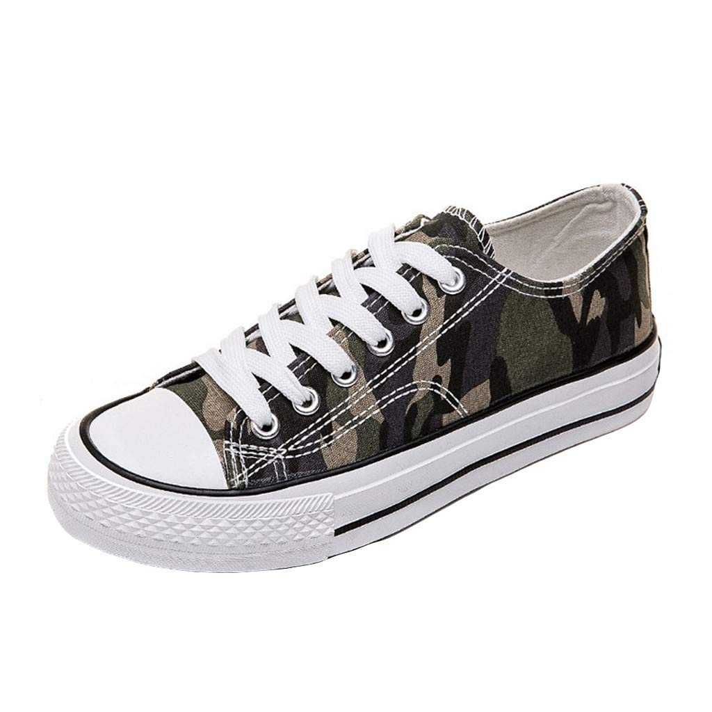 BANAA Sports Shoes Stylish Print Canvas Lace-up Slip on Sneakers Casual Running Shoes Comfy Outdoor Walking Shoes Army Green Flats