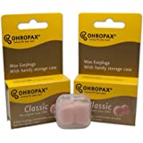 2 Pack of Ohropax Reusable Wax/cotton Ear Plugs (24 Plugs Total) with Clear Carrying Case