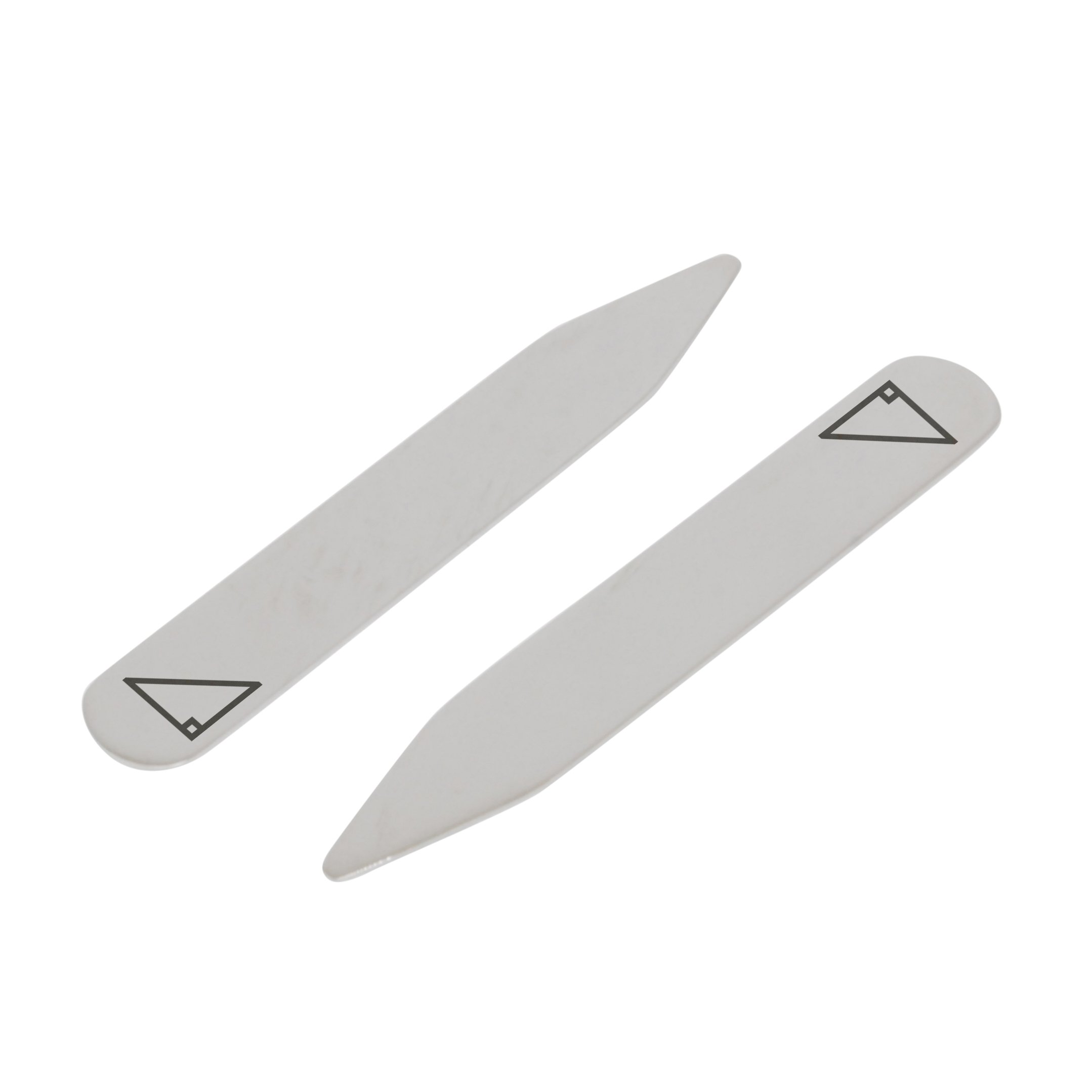 MODERN GOODS SHOP Stainless Steel Collar Stays With Laser Engraved Right Triangle Design - 2.5 Inch Metal Collar Stiffeners - Made In USA by Modern Accessories Co (Image #1)