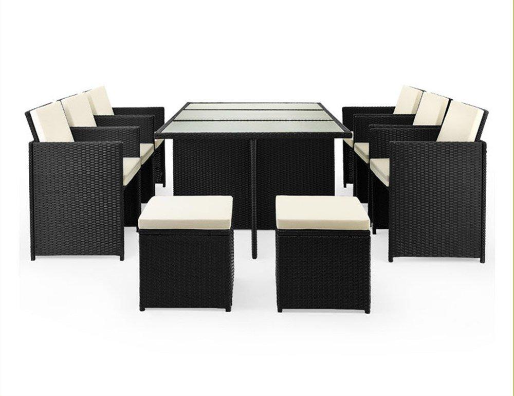 Design-Rattan® Rattan Sitzgruppe NASSAU 180x120cm | 10 Personen | Stahl