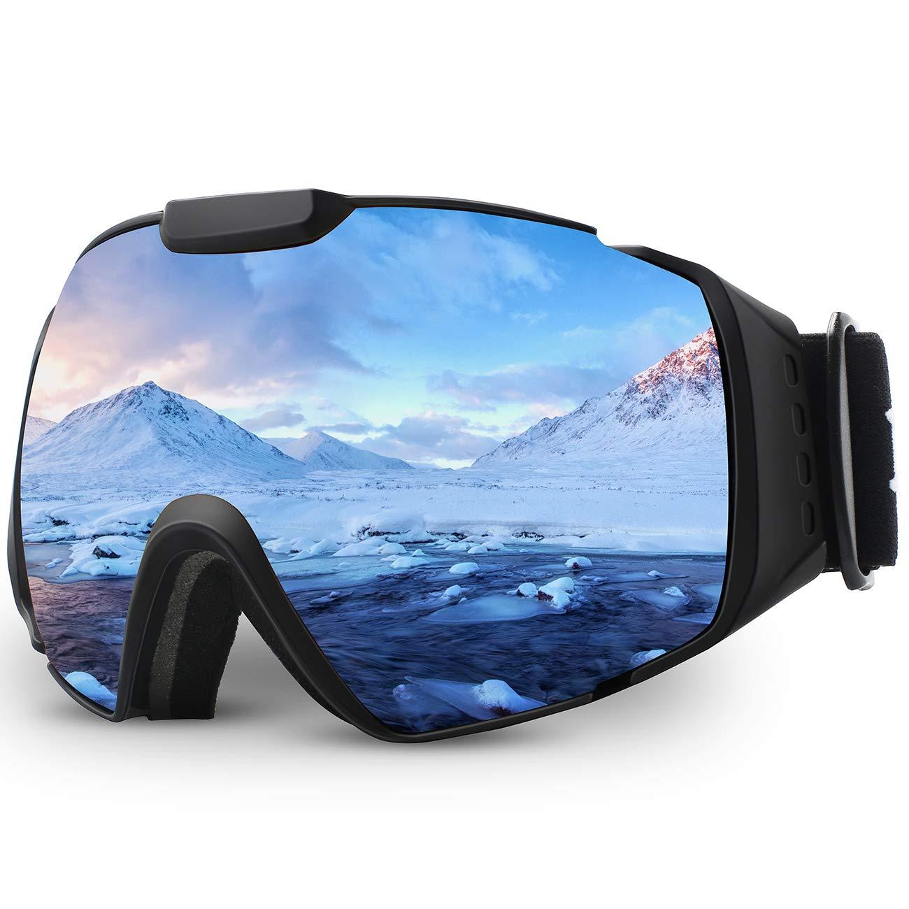 Juli® Skibrille,Winter Schnee Sport Snowboardbrille Mit Anti-Nebel UV Schutz Austauschbar Sphärische Doppelte Linse für Männer Frauen & Jugend Schneemobil B07LG5D62D Skibrillen Sehr praktisch