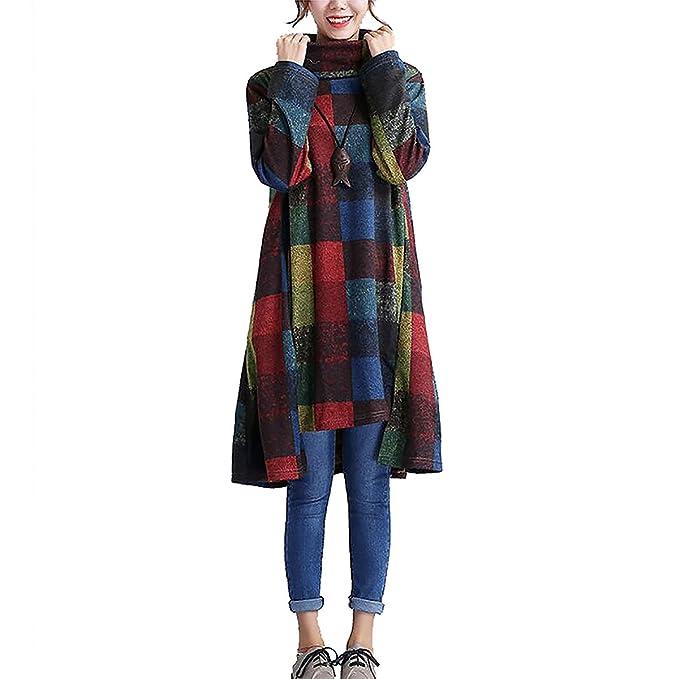 9226f4448f QBQ Women s Turtle Neck Fall Winter Printed Long Sleeve Vintage Jersey  Irregular Jumper Dress (Style