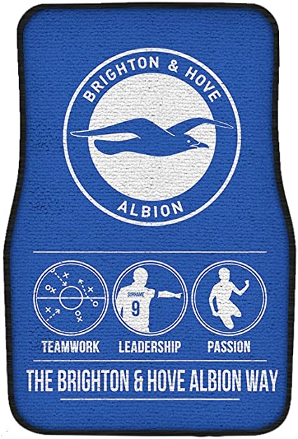 Official Personalised Brighton & Hove Albion Way Football 2 Pack Front Car Floor Mats