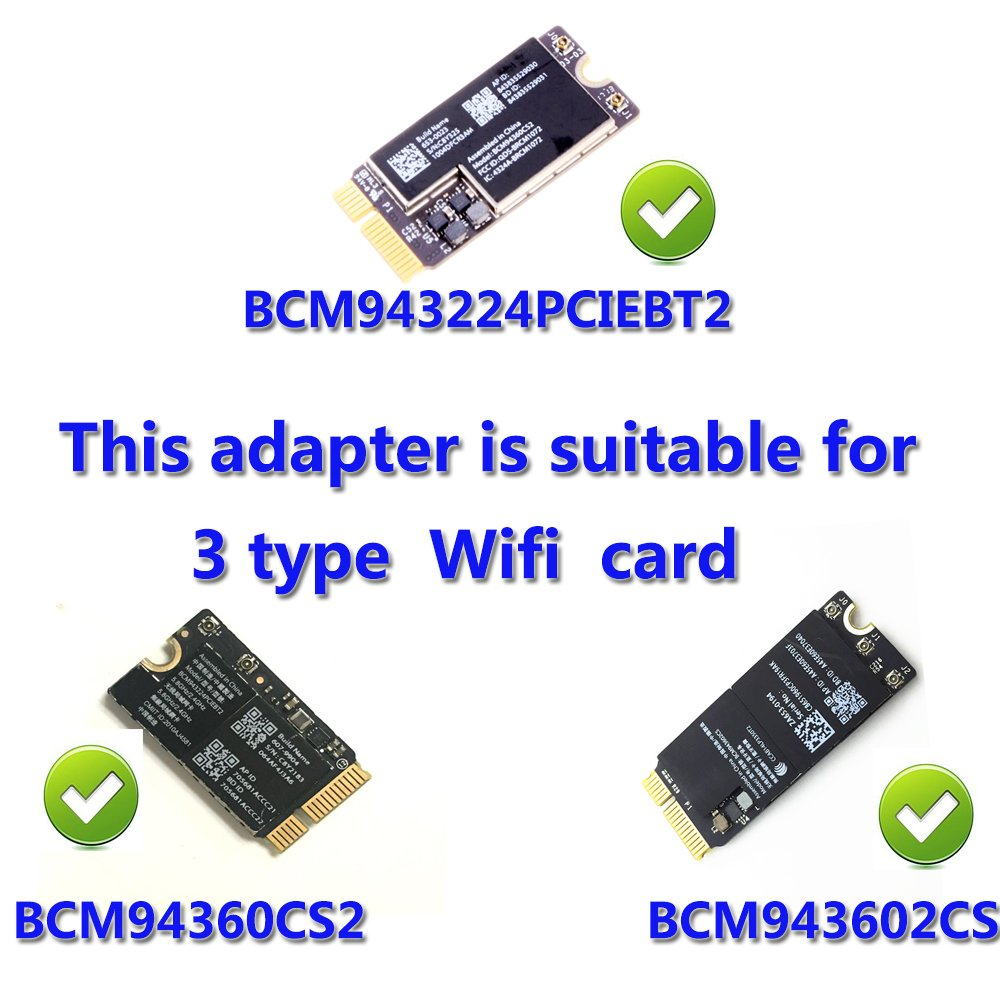 WiFi + Bluetooth 4 0 Card to PCI-E x1 Adapter for PC/Hackintosh Without  BCM943224PCIEBT2/bcm94360CS2/BCM943602CS