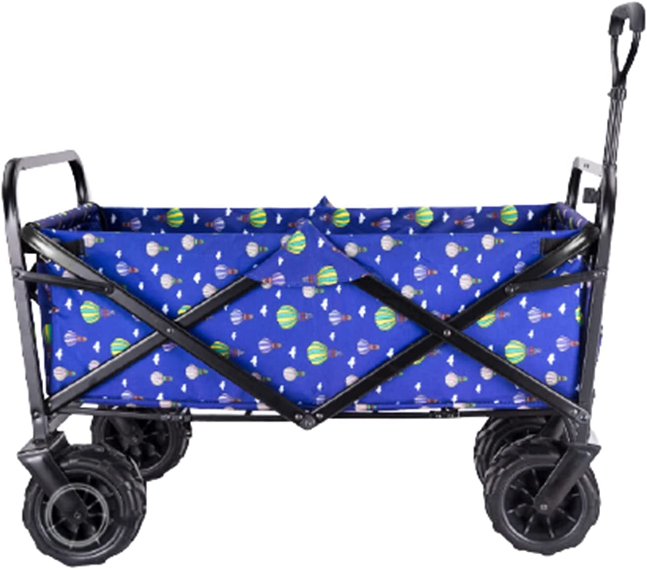 Garden Carts Folding Shopping Trolley Portable Four-Wheeled Trolley Camping Trolley,Color Blue