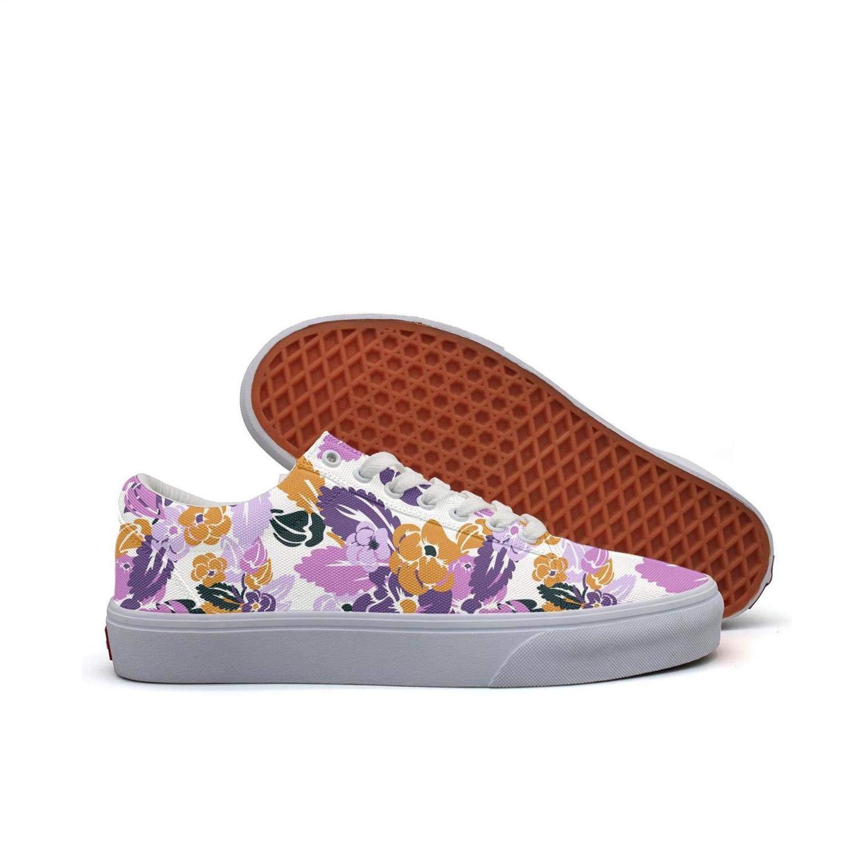FGBLK Lace Canvas Purple Live Pansies Edible Woman Sneakers Wear-Resistant Flat Skate Shoes