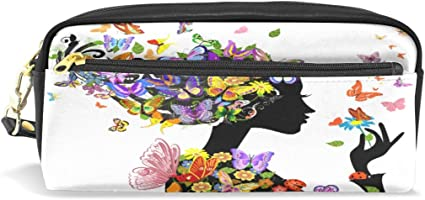 Estuche escolar para lápices, diseño de mariposas, color blanco y negro, con asa para estudiantes, niños y mujeres: Amazon.es: Oficina y papelería