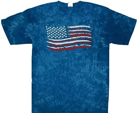 5e0438fa78a7c Tie Dye Shop Cotton Blue Crinkle American USA Tie Dye Flag T Shirt