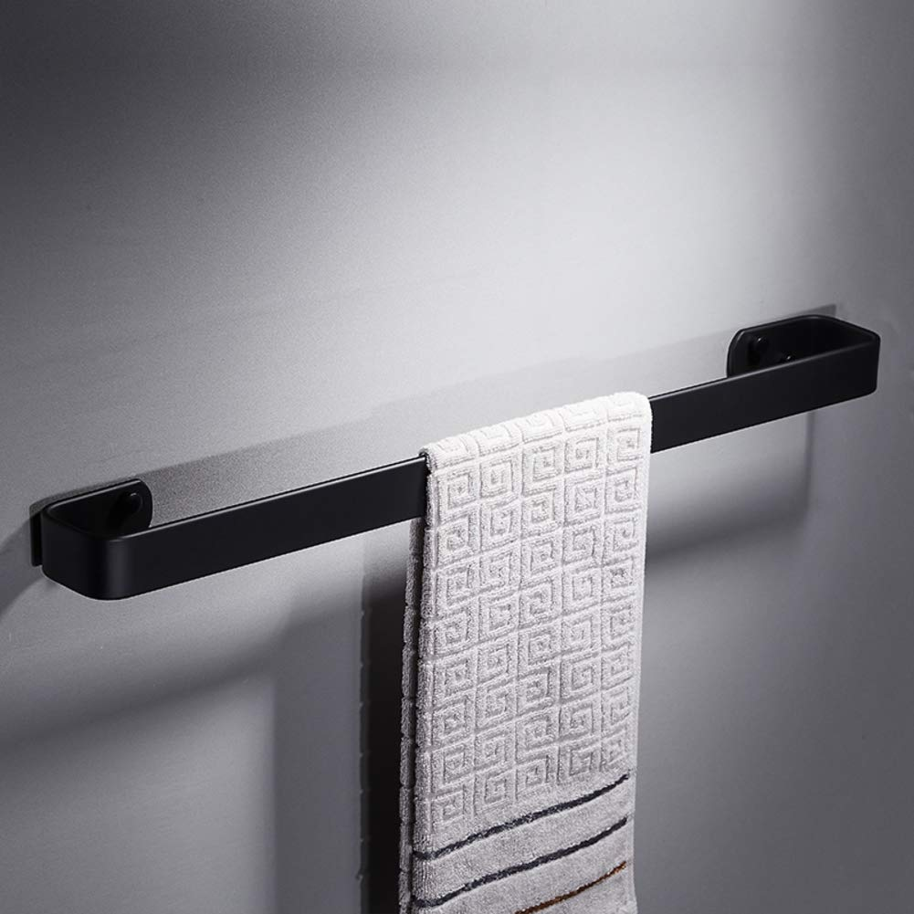 XJ&DD Solid Black Space Aluminum Towel bar,Single Pole Rust Corrosion Resistant Towel Rail,Free Punching for Bathroom Kitchen Office.Punch-C 40cm(16inch)