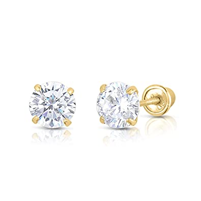 08f0be471 Amazon.com: 14K Solid Yellow Gold CZ Stud Earrings Basket Set Round Clear CZ  Screw Back 2.5mm: Jewelry