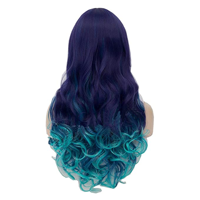 Oyixu Blue Ombre Highlights 75cm 29 5 Lolita Halloween Cosplay Hair Party Curly Long Wig