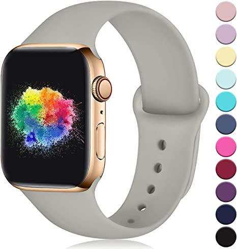 Imagen deYoumaofa Correa Compatible con Apple Watch 38mm 40mm, Correa de Silicona Repuesto Pulsera Deportivas para iWatch Series 5 Series 4 Series 3 Series 2 Series 1, 38mm/40mm S/M Gris