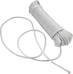 Katzco Nylon Rope Twisted Solid Braided 1 Roll of 1/8 Inch x 50 Foot Rope - for Camping, Sports and Outdoors, Construction, Moving, Furniture, Towing, Wheel and Axles, Boat Docks, and Fishing