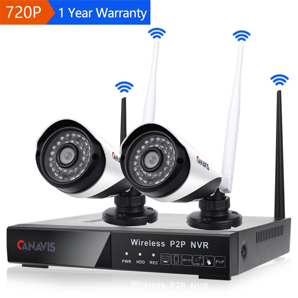 720p Wireless Security Camera System 2CH Bullet Camera 4 Channel NVR Night Vision Motion Detection Indoor Outdoor NO HDD