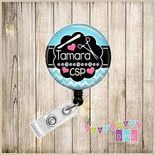 Central Sterile Processing - CSP - Personalized - Pool Blue with Pink Hearts - Chevron - Button Badge Reel