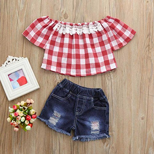 b9b370b885ac5 Efaster Toddler Baby Girls Plaid Lace Off Shoulder Tops+Hole Denim Shorts  Set