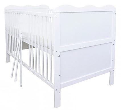 Babybett Gitterbett Kinderbett umbaubar zum Juniorbett Weiß 140x70 ...