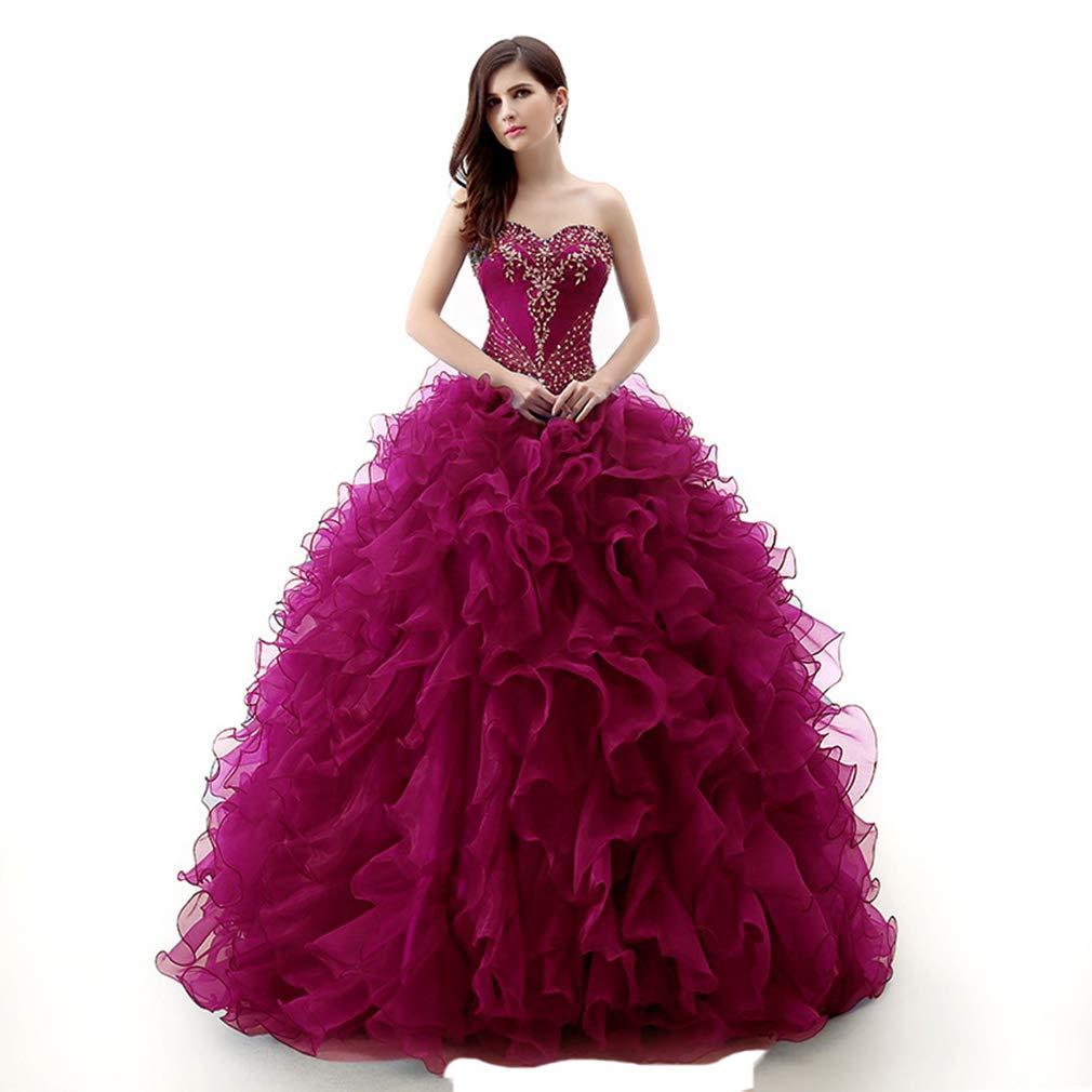 Fushia Fashionbride Women's Organza Sweet 16 Dresses Prom Ball Gown Quinceanera Dresses ED99