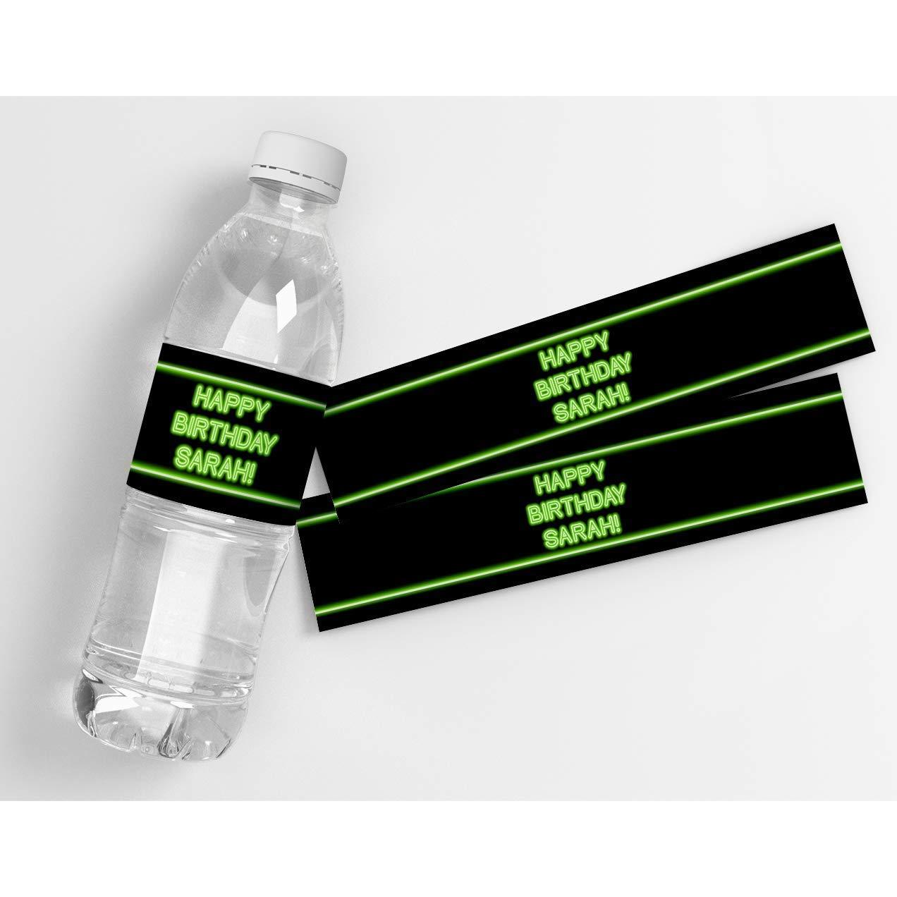 Glow Birthday Personalized Waterproof Water Bottle Labels