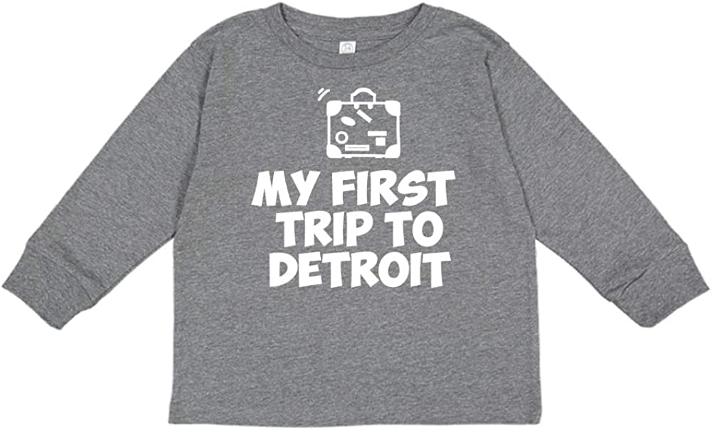 Toddler//Kids Long Sleeve T-Shirt Mashed Clothing My First Trip to Detroit