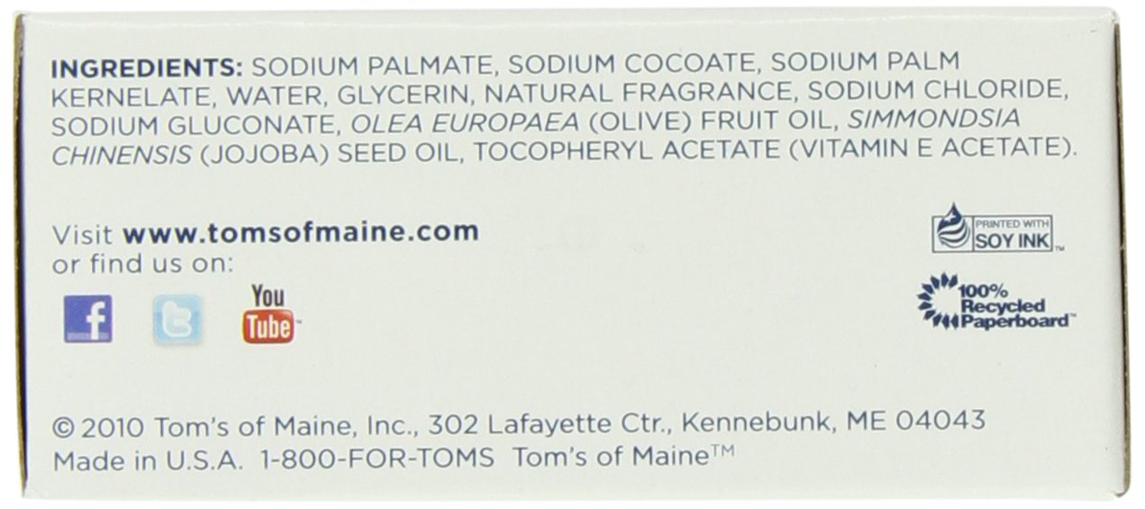 Tom's of Maine Moisturizing Bar Daily, 4-Ounce Bar, Pack of 6 by Tom's of Maine (Image #3)