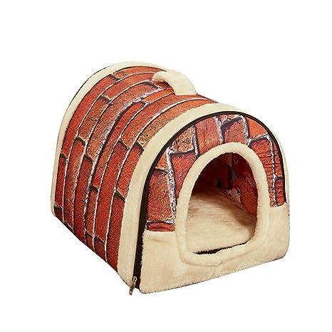 DERKOLY - Caseta de Mascotas con diseño de Ladrillos y Estrellas, Plegable, Ideal para