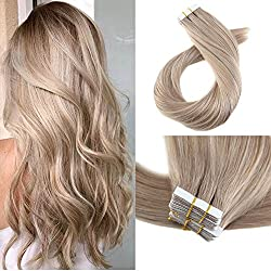 Moresoo 16 Inch Invisible Adhesive Hair Extensions Thick Hair Per Pack #18 Ash Blonde Seamless Skin Weft Hair Remy Human Hair Glue on Remy Hair Extensions