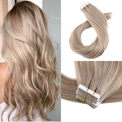 Moresoo 14 Inch Skin Weft Hair Extensions Glue on 40 Pieces 100 Grams #18 Ash Blonde Tape in Extensions 100 Remy Human Hair Soft and Silky Remy Hair Seamless Real Human Hair Extensions