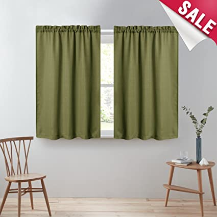 kitchen tier curtains 45 inch casual weave textured cafe curtains rod pocket semi sheer short curtains - Kitchen Cafe Curtains