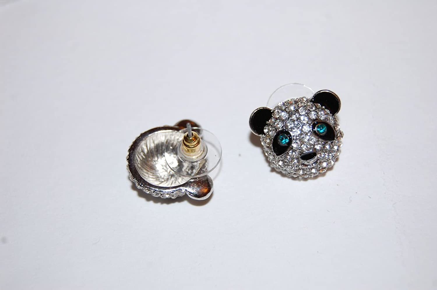 Panda Stud Earrings Encrusted with Shiny Crystals with Sterling Silver Posts (Supplied in a Gift Pouch) 8ZQjy8