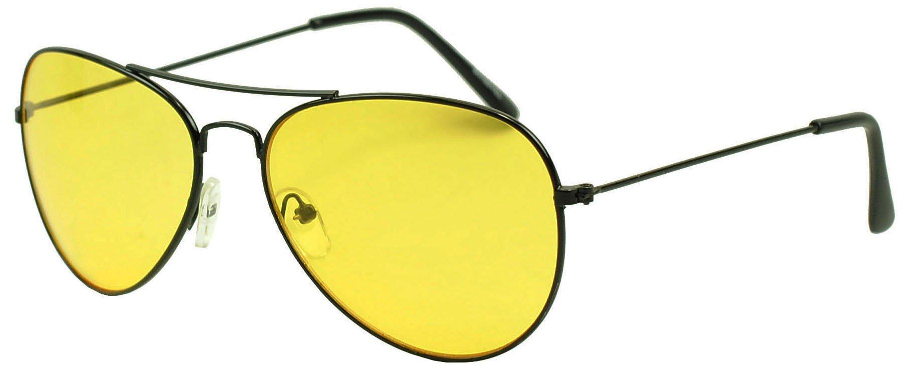 SunglassUP - Oversized Round 80's Vintage Yellow Night Driving Aviator Sunglasses (Black (Metal), Yellow) by SunglassUP