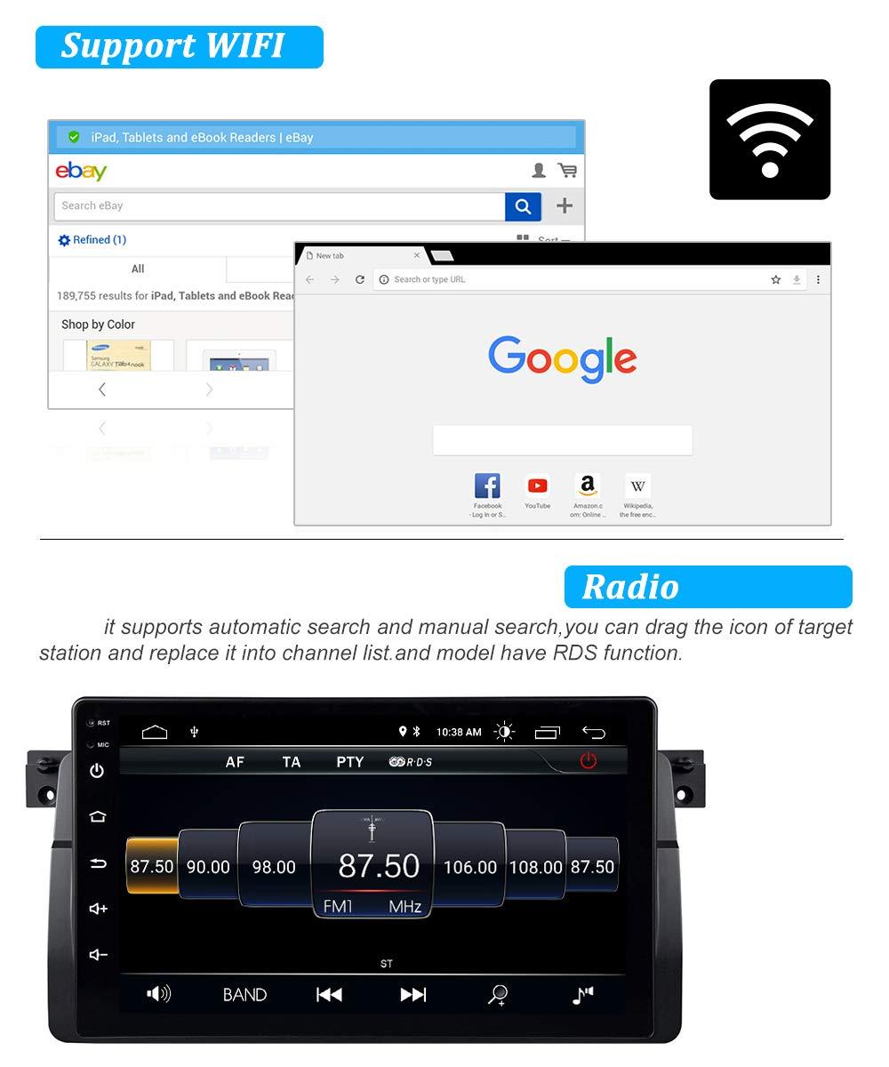 GPS RAM2GB ROM32GB Pantalla T/áctil WiFi Bluetooth FM Am DSP RDS USB SD CANBUS Control del Volante Autoradio de Coche de 9 Pulgadas Android 9.0 para BMW E46 con Procesador Quad-Core