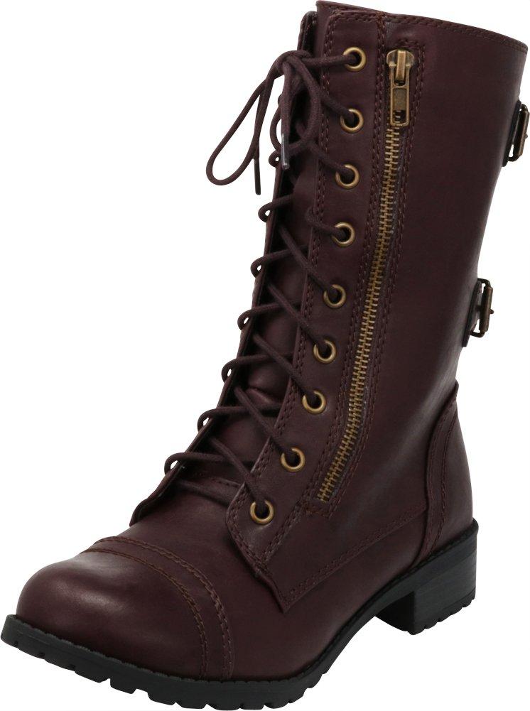 Cambridge Select Women's Lace-Up Round Toe Buckle Zipper Chunky Heel Combat Boot,7.5 B(M) US,Wine Pu