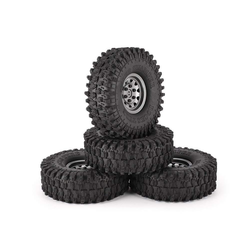 DERNON 4pcs 1.9in Rubber Tires Metal Wheel Rim for Traxxas D90 TRX-4 SCX10 RC4 RC Car grau Wheel