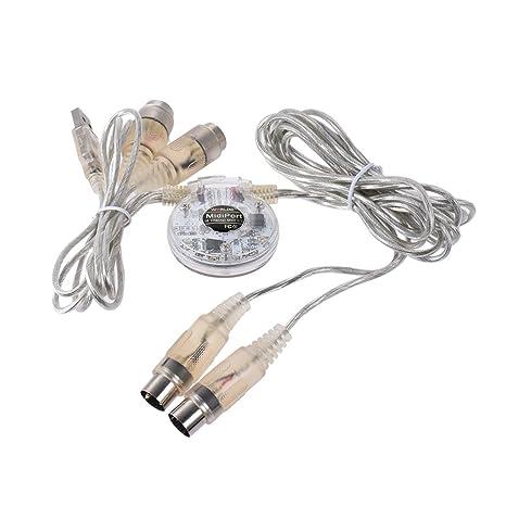 ammoon Alta Calidad Adaptador de Interfaz MIDI USB Cable Doble de 5 Pines Macho a Doble