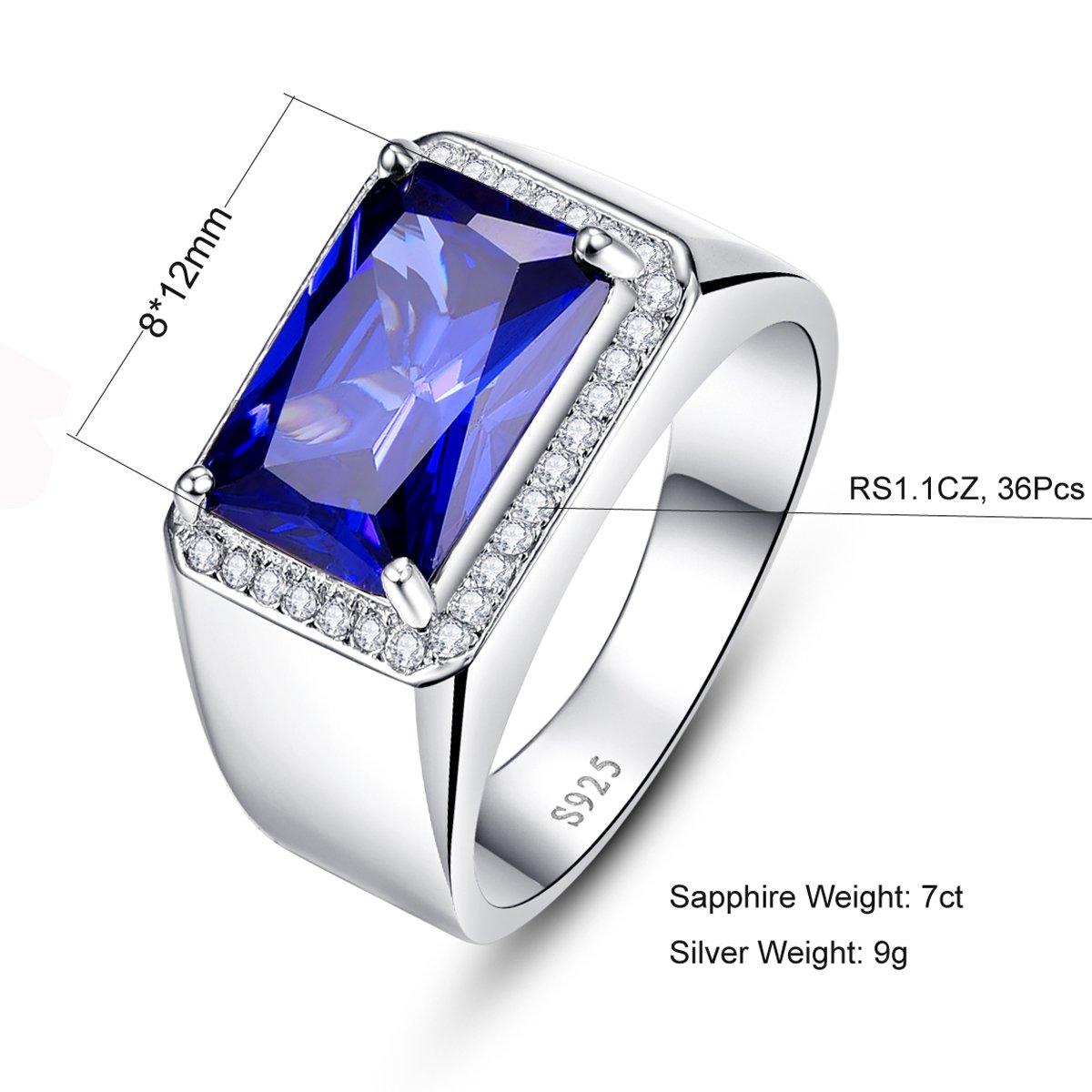 BONLAVIE 7.0ct Square Created Blue Sapphire 925 Sterling Silver Men's Ring Size 6 by BONLAVIE (Image #3)