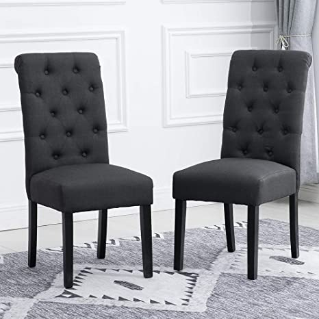 Amazon Com Huisenus Modern Set Of 2 Charcoal Dining Chair Upholstered Fabric With Button Padding For Living Room Dining Room Wedding Reception Restaurant Charcoal Set Of 2 Chairs