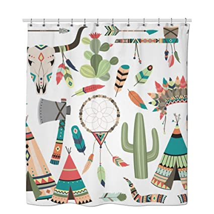 Tribe Shower Curtain Cactus Illustration Good Tribal Vector